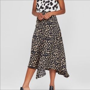 Who What Wear Leopard Print Asymmetrical Skirt